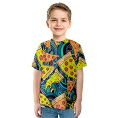 Pizza Pattern Kids  Sport Mesh Tee