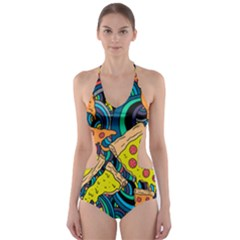 Pizza Pattern Cut-Out One Piece Swimsuit