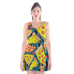 Pizza Pattern Scoop Neck Skater Dress