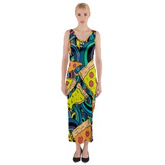 Pizza Pattern Fitted Maxi Dress
