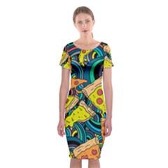 Pizza Pattern Classic Short Sleeve Midi Dress