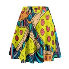Pizza Pattern High Waist Skirt