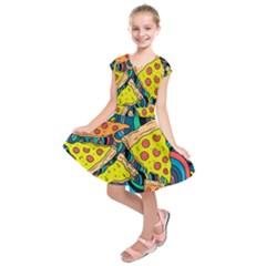Pizza Pattern Kids  Short Sleeve Dress