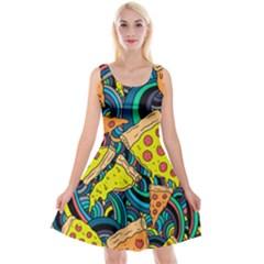 Pizza Pattern Reversible Velvet Sleeveless Dress