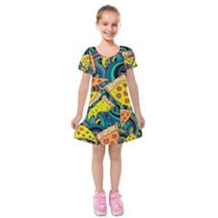 Pizza Pattern Kids  Short Sleeve Velvet Dress