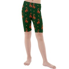 Paisley Pattern Kids  Mid Length Swim Shorts