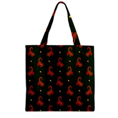 Paisley Pattern Zipper Grocery Tote Bag