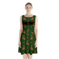 Paisley Pattern Sleeveless Chiffon Waist Tie Dress