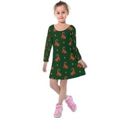 Paisley Pattern Kids  Long Sleeve Velvet Dress