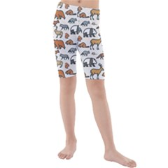 Wild Animal Pattern Cute Wild Animals Kids  Mid Length Swim Shorts