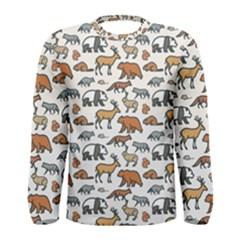Wild Animal Pattern Cute Wild Animals Men s Long Sleeve Tee