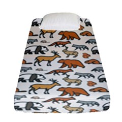 Wild Animal Pattern Cute Wild Animals Fitted Sheet (Single Size)