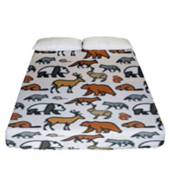 Wild Animal Pattern Cute Wild Animals Fitted Sheet (Queen Size)