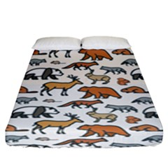 Wild Animal Pattern Cute Wild Animals Fitted Sheet (King Size)