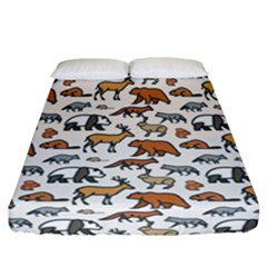 Wild Animal Pattern Cute Wild Animals Fitted Sheet (California King Size)