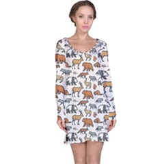 Wild Animal Pattern Cute Wild Animals Long Sleeve Nightdress