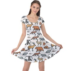 Wild Animal Pattern Cute Wild Animals Cap Sleeve Dresses
