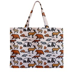 Wild Animal Pattern Cute Wild Animals Zipper Mini Tote Bag
