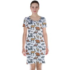 Wild Animal Pattern Cute Wild Animals Short Sleeve Nightdress