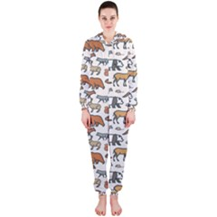 Wild Animal Pattern Cute Wild Animals Hooded Jumpsuit (Ladies)