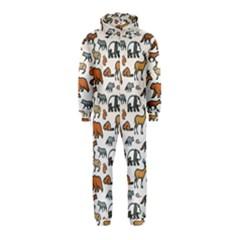 Wild Animal Pattern Cute Wild Animals Hooded Jumpsuit (Kids)