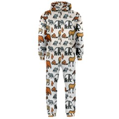 Wild Animal Pattern Cute Wild Animals Hooded Jumpsuit (Men)