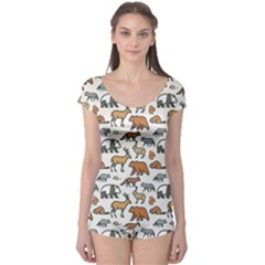 Wild Animal Pattern Cute Wild Animals Boyleg Leotard