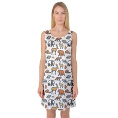 Wild Animal Pattern Cute Wild Animals Sleeveless Satin Nightdress