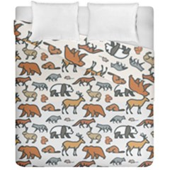 Wild Animal Pattern Cute Wild Animals Duvet Cover Double Side (California King Size)