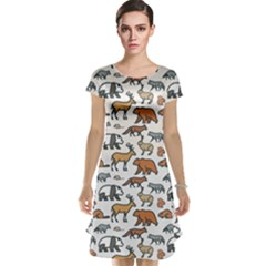 Wild Animal Pattern Cute Wild Animals Cap Sleeve Nightdress