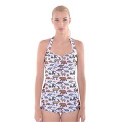 Wild Animal Pattern Cute Wild Animals Boyleg Halter Swimsuit