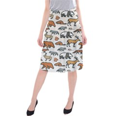 Wild Animal Pattern Cute Wild Animals Midi Beach Skirt