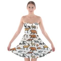 Wild Animal Pattern Cute Wild Animals Strapless Bra Top Dress