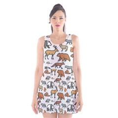 Wild Animal Pattern Cute Wild Animals Scoop Neck Skater Dress