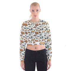 Wild Animal Pattern Cute Wild Animals Women s Cropped Sweatshirt
