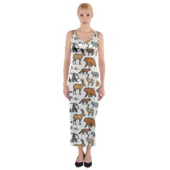 Wild Animal Pattern Cute Wild Animals Fitted Maxi Dress