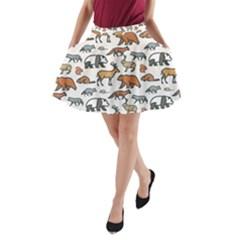 Wild Animal Pattern Cute Wild Animals A-Line Pocket Skirt