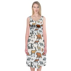 Wild Animal Pattern Cute Wild Animals Midi Sleeveless Dress