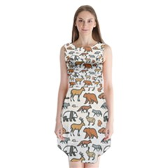 Wild Animal Pattern Cute Wild Animals Sleeveless Chiffon Dress