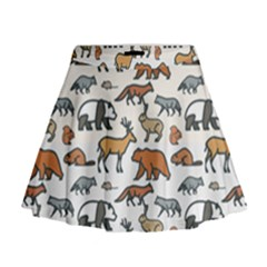 Wild Animal Pattern Cute Wild Animals Mini Flare Skirt