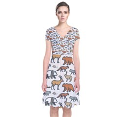 Wild Animal Pattern Cute Wild Animals Short Sleeve Front Wrap Dress