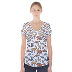 Wild Animal Pattern Cute Wild Animals Short Sleeve Front Detail Top