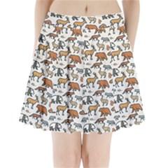 Wild Animal Pattern Cute Wild Animals Pleated Mini Skirt