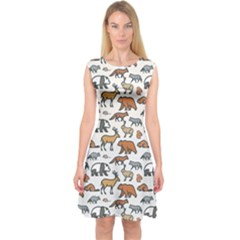 Wild Animal Pattern Cute Wild Animals Capsleeve Midi Dress