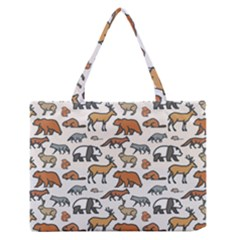 Wild Animal Pattern Cute Wild Animals Medium Zipper Tote Bag