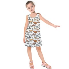 Wild Animal Pattern Cute Wild Animals Kids  Sleeveless Dress