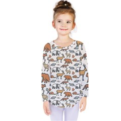 Wild Animal Pattern Cute Wild Animals Kids  Long Sleeve Tee