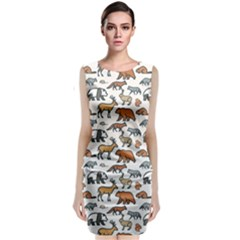 Wild Animal Pattern Cute Wild Animals Sleeveless Velvet Midi Dress