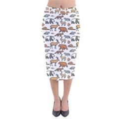 Wild Animal Pattern Cute Wild Animals Velvet Midi Pencil Skirt