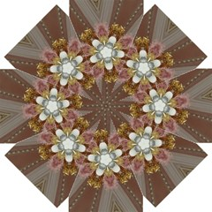 Elegant Antique Pink Kaleidoscope Flower Gold Chic Stylish Classic Design Straight Umbrellas